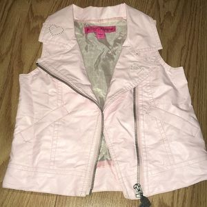 Betsey Johnson Pink faux leather vest girls 2T